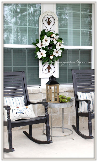 Farmhouse Front Porch-Early Spring Front Porch-Magnolia Wreath-Grandin Road Rocking Chairs-From My Front Porch To Yours