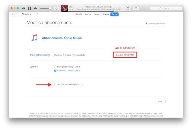 conferma disdetta apple music pc mac e data fine abbonamento