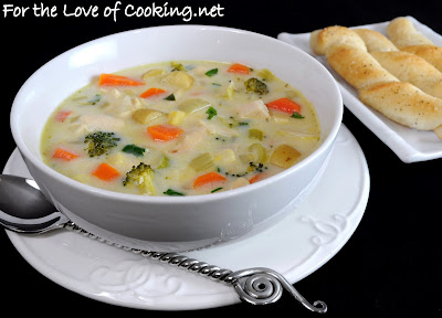 Creamy Chicken, Potato, and Veggie Soup