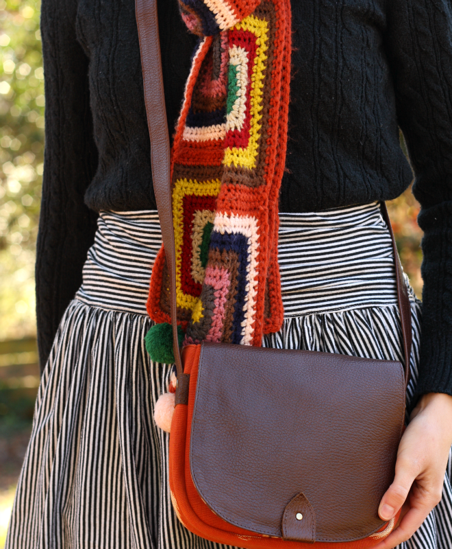 crochet scarf and ikat purse