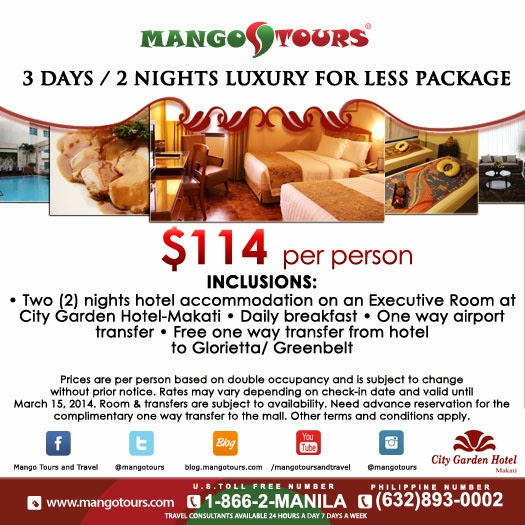 Mango Tours City Garden 3D/2N Luxury for Less Package