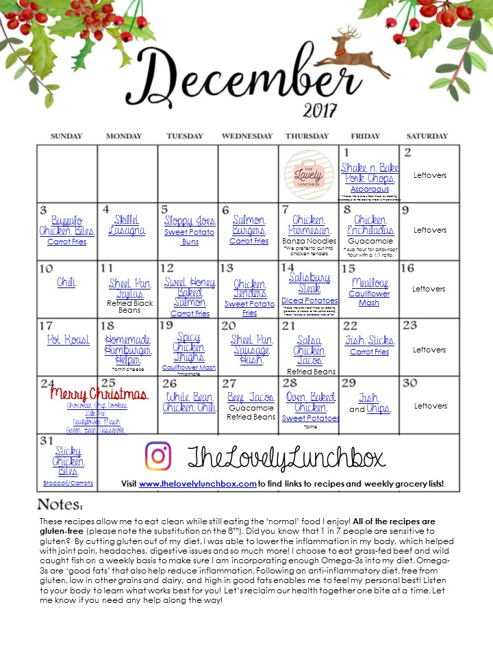 December Meal Calendar  The Lovely Lunchbox
