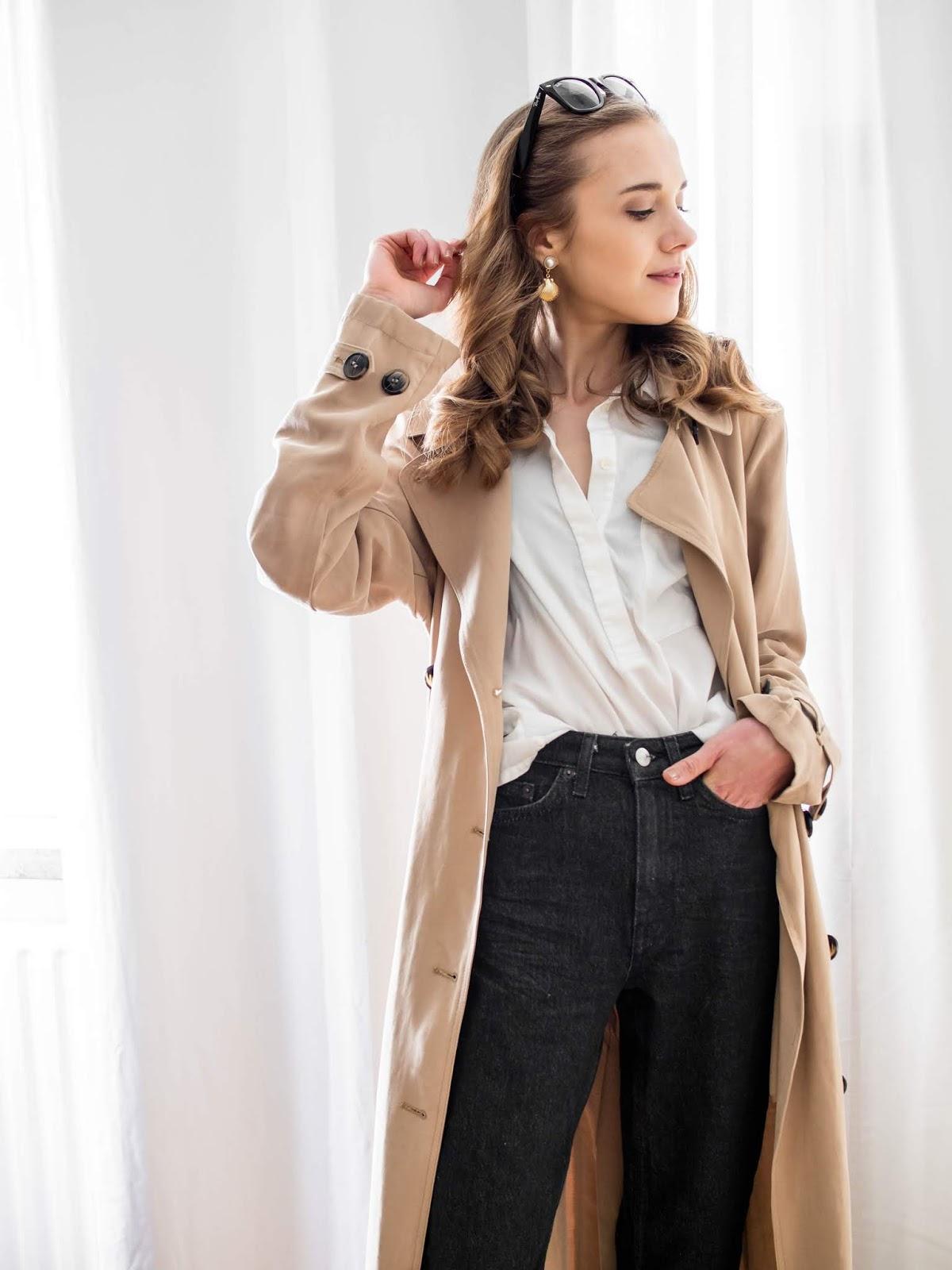 Spring outfit with long trench coat - Kevätasu pitkän trenssitakin kanssa