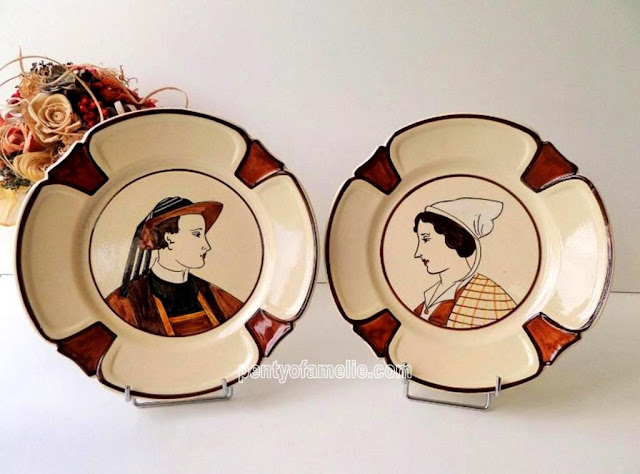 HB HENRIOT Quimper Glazed Art Pottery Rare Traditional Breton Couple Matching Plates. Creamy and Brown Colors. Hand-Painted Antiques