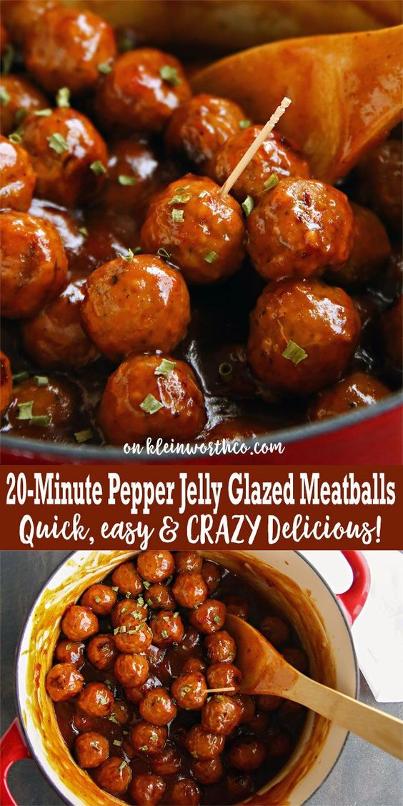 20-Minute Pepper Jelly Glazed Meatballs #appetizer #easy #meatballs