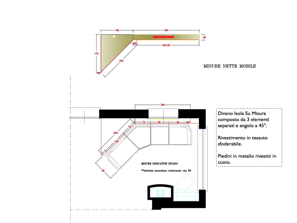 Divani e divani letto su misura un divano isola su misura for Divano disegno