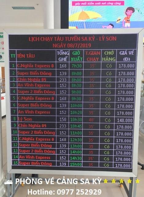 Lịch giờ tàu chạy Sa Kỳ - Lý Sơn