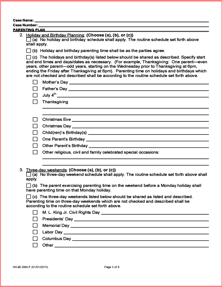 joint custody parenting plan template free parenting plan template 2 modern resume template ideas