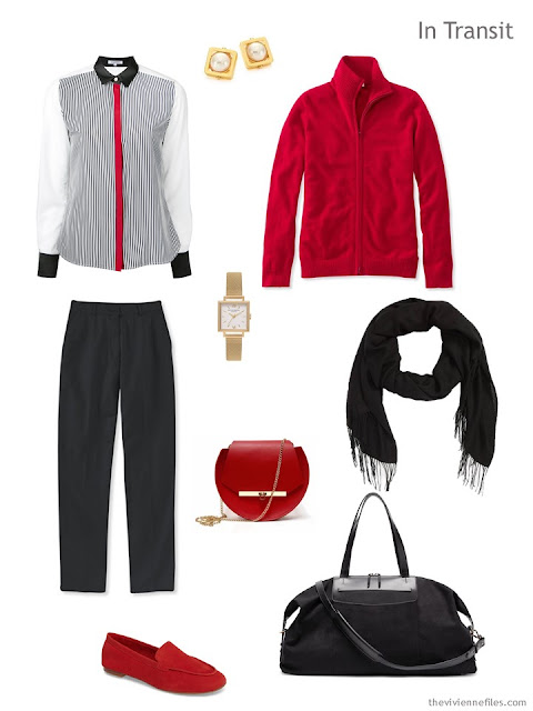 travel outfit for cool weather in black, white and red