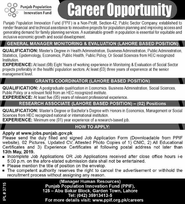 Punjab Population Innovation Fund Jobs 2019
