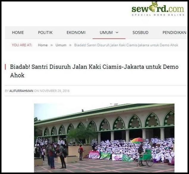 NB: Seword adalah situs milik ALIFURRAHMAN, salah satu yang pernah diundang Presiden Joko Widodo ke Istana, bersama-sama pegiat sosial media, facebooker, selebtwit, Youtuber, dll. Bukan kali saja Seword berulah. Sebelumnya mereka menghujat MUI antek SBY, menuduh dibayar oleh Agus SBY.