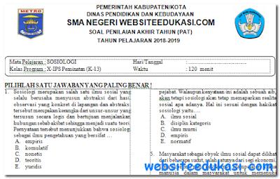 Soal PAT/UKK Sosiologi Kelas 10 K13 Tahun 2018/2019