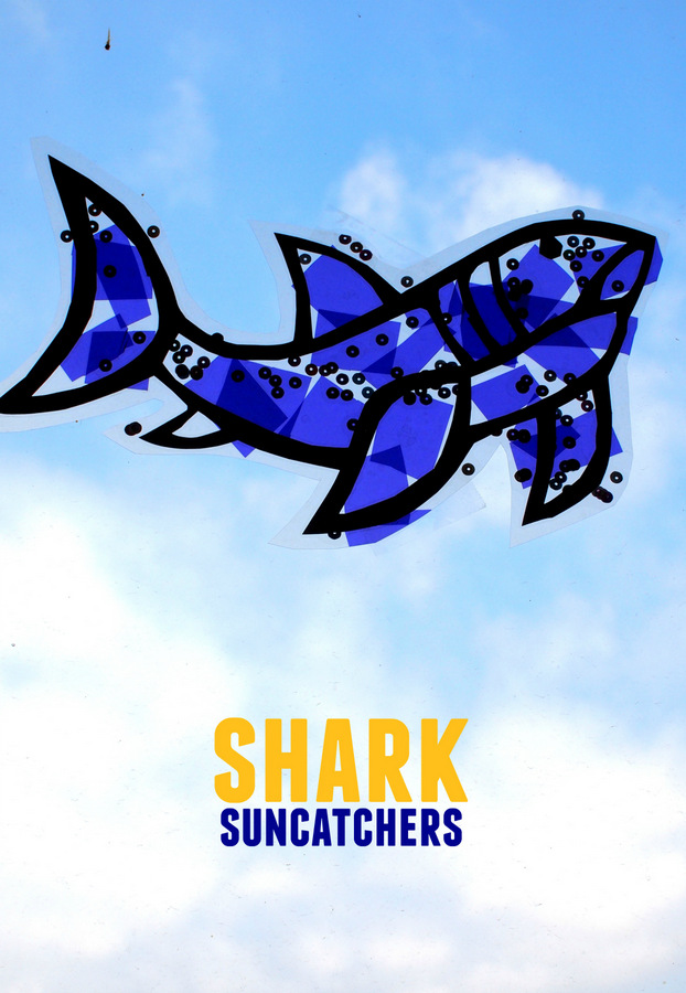 Make Super graphic and colorful shark sun catchers with kids!
