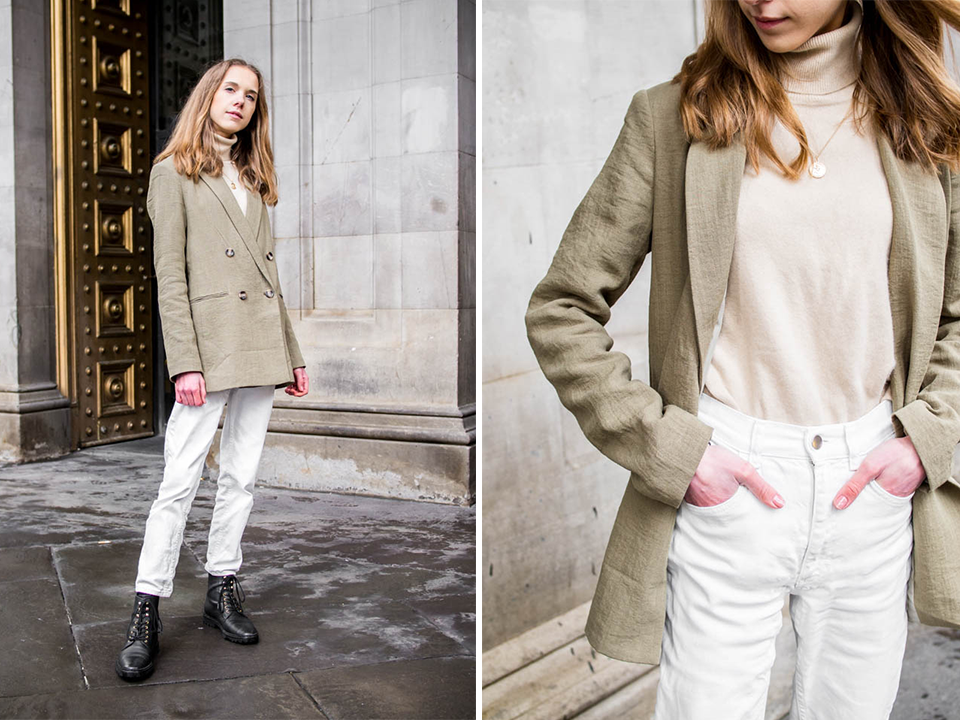 Spring fashion inspiration with sage/olive green blazer - Kevätmuoti, asuinspiraatio, vihreä bleiseri