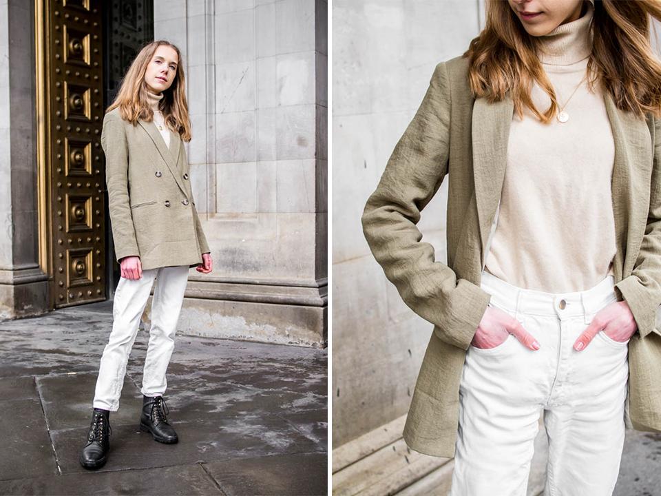 Spring fashion inspiration with sage/olive green blazer - Kevätmuoti, asuinspiraatio, vihreä bleiseri