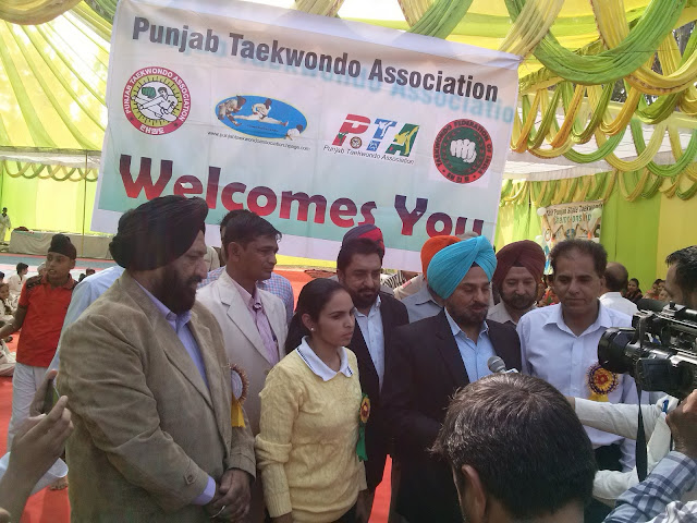 Chief Guest Deputy Commisioner Mohali S. Tajinder Pal Singh Sidhu, IAS addressing Media at 18th Punjab State Taekwondo C'ship, Nov 2016, Championship, Golden Bells Public School, SAS Nagar, Martial Arts, Tkd, Training, Classes, Chandigarh, India, Federation, Academy, Association, kot Maira, Garhshankar, Hoshiarpur, Grand Master Er. Satpal Singh Rehal, Black Belt with Kanwaljit Walia, Jatinderee Verma, Lt. Col. CS Bawa..