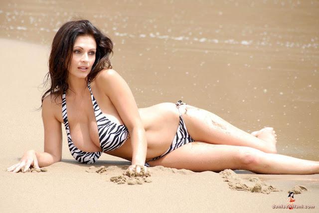 Denise Milani Beach Zebra HD Sexy Photoshoot Hot Photo 15