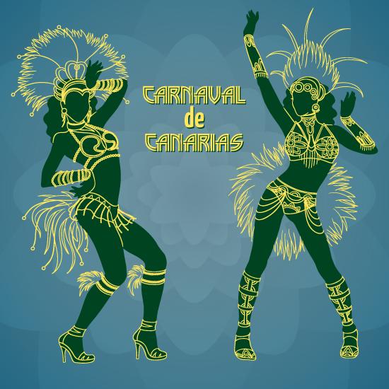 Bailarinas Carnaval de Canarias y Brasil - vector