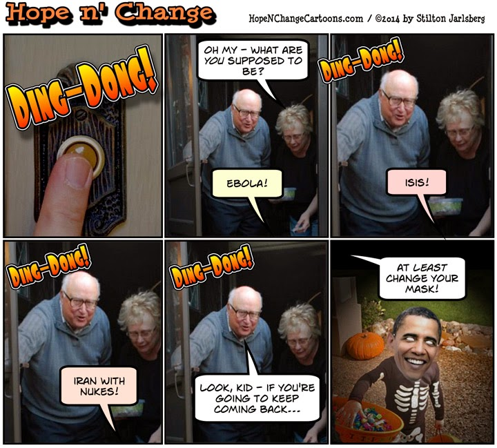 obama, obama jokes, political, humor, cartoon, funny, halloween, isis, ebola, iran, nukes, stilton jarlsberg, hope n' change, hope and change, costume, trick or treat