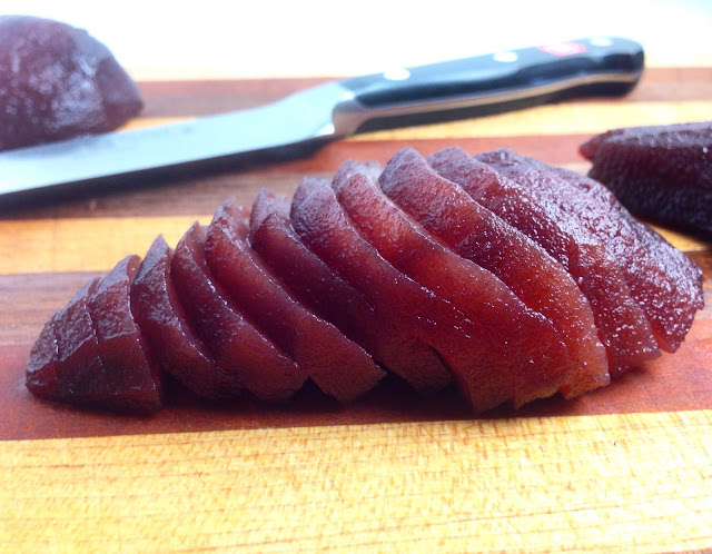 Thinly Sliced Spiced Red Wine Poached Pear