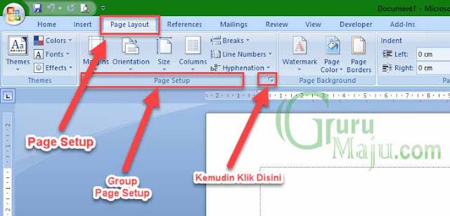 Page Layout, Pilih Page Setup
