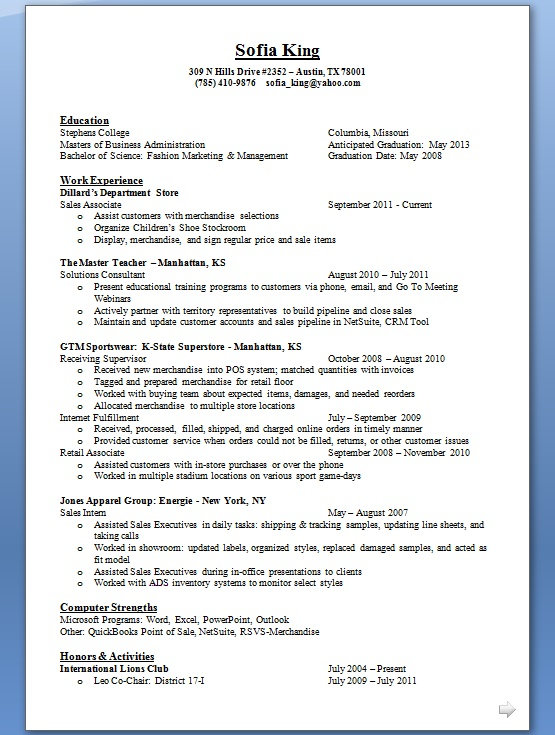 How To Write A Good Resume For A Sales Associate in Word Format Free