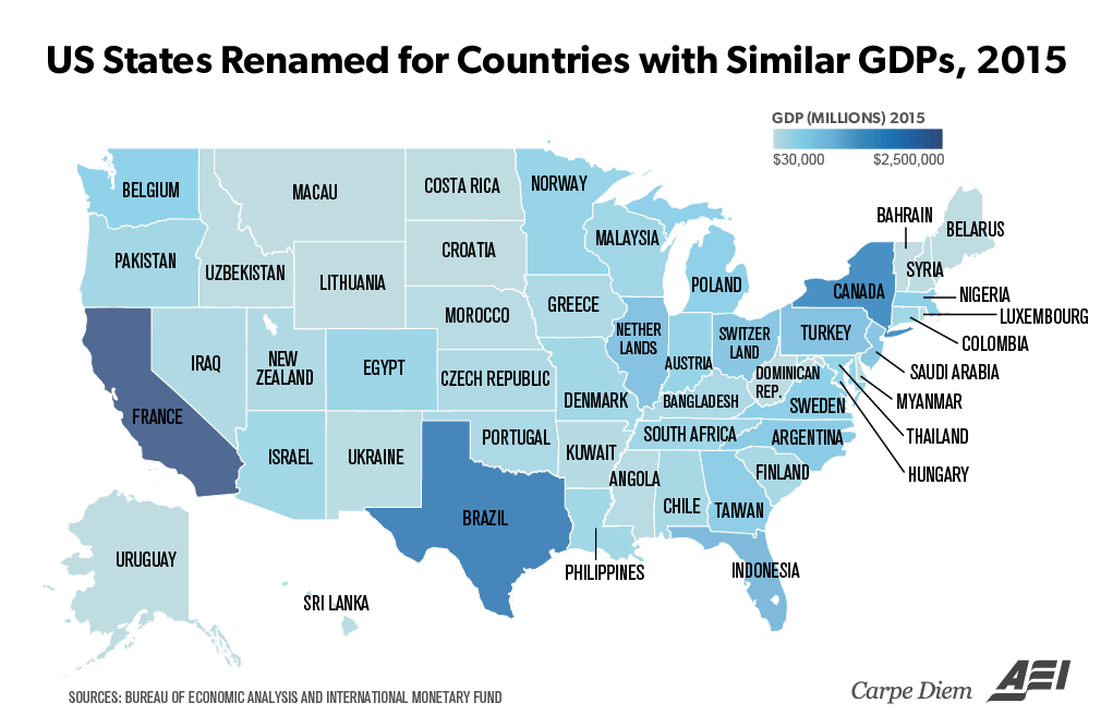 US States Renamed For Countries With Similar GDPs Vivid - Usa map countries