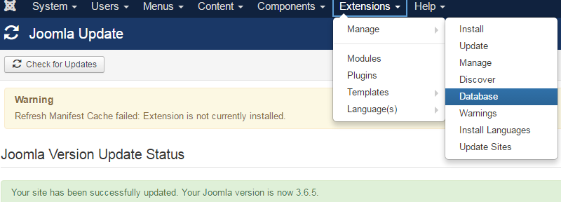 Joomla 3 - Refresh Manifest Cache failed: Extension is not currently installed 1