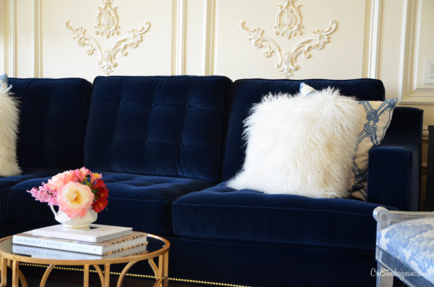 The Maura Project: Dark Blue Velvet Sofa