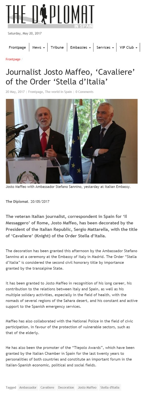 "Journalist Josto Maffeo, ""Cavaliere"" of the Order ""Stella d'Italia"""