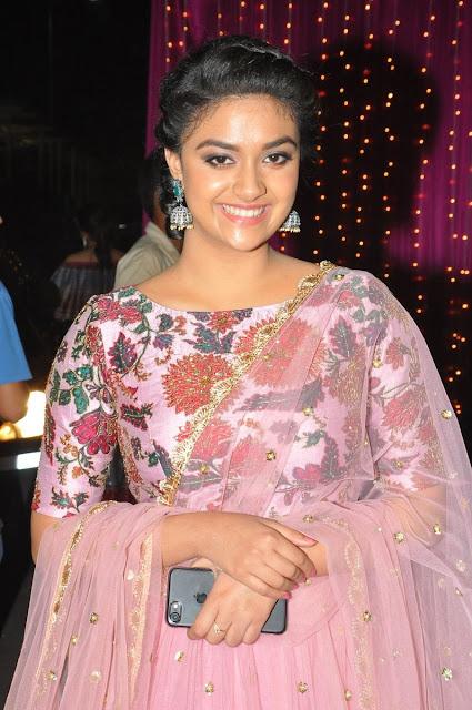 Actress Keerthy Suresh at Zee Apsara Awards 2017