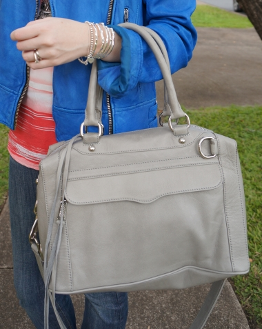 Away From The Blue Rebecca Minkoff soft grey Mini Morning After Bag MAB