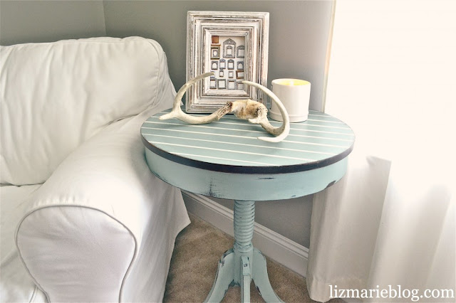 Pin Stripe Painted Side Table