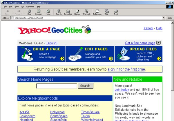 geocities yahoo