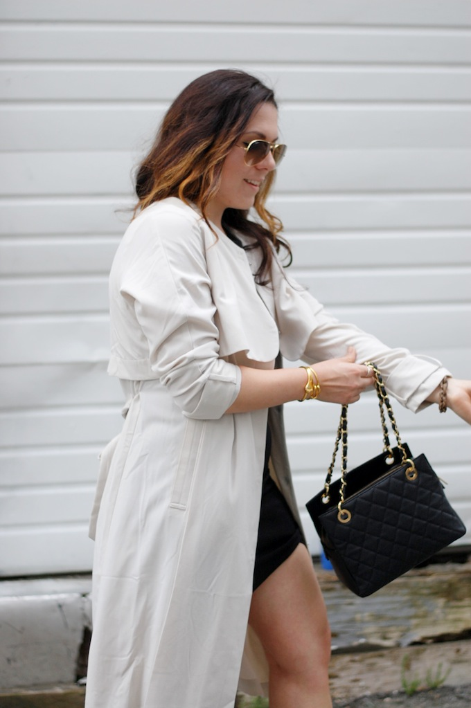 Helmut Lang dress, Chanel PST handbag and an H&M trench coat from Vancouver fashion blog Covet and Acquire by Aleesha Harris.