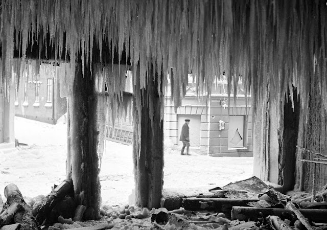 Icicles hang inside a bombed-out building in Viipuri, Finland (now Vyborg, Russia).