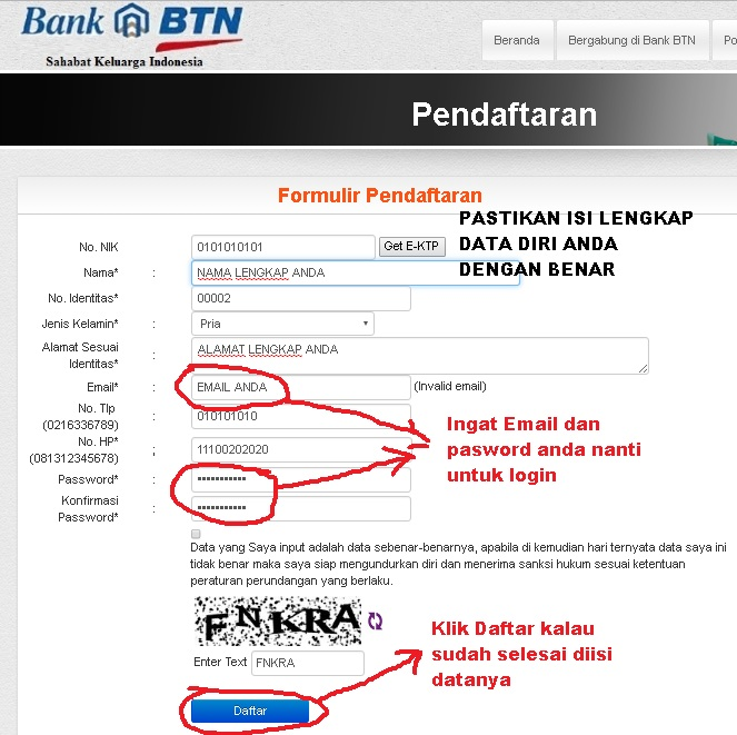 Lakukan pendaftaran online Bank BTN