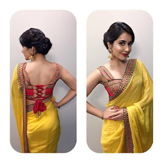 Raashi Khanna in yellow saree by Shilpa Reddy at the Bathukamma celebrations