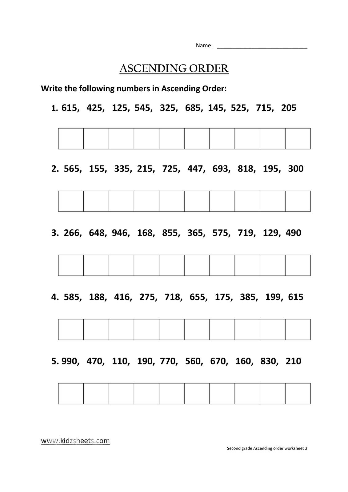 Kidz Worksheets Second Grade Ascending Order Worksheet2
