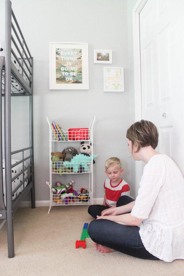 At Home Decor, Toddler Bedroom, Kids bedroom decor, colorful bedroom, bedroom makeover, kids bedroom makeover, big boy room, primary color bedroom, bunk beds, ikea hemnes dresser, home decor blog, home decor blogger