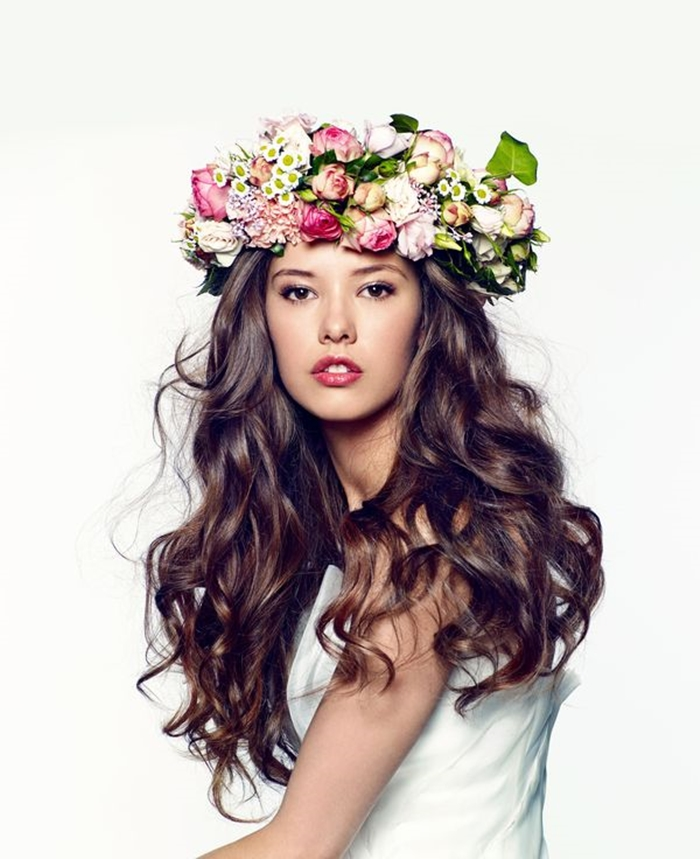 long culrs, waves bridal hairstyle with garland, flowers