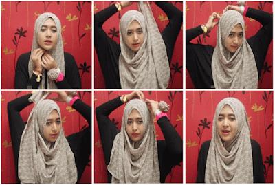 Tutorial Hijab Selendang Pashmina Sifon Motif Bunga ala Natasha Farani Model Terbaru