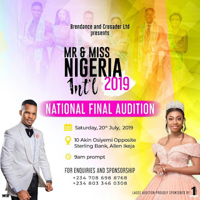 Mr and Miss Nigeria International 2019! Pageant.