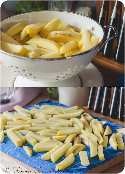 Gespülte und abgetrocknete Kartoffelstifte für Ofenpommes