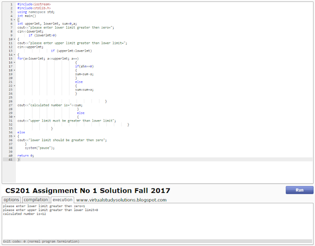 CS201 Assignment Solution Source Code Sample Output