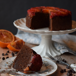 Image of Blood orange and Chocolate Upside Down Cake using a black reflector.