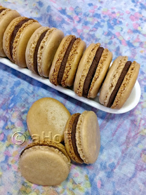 Less Sweet Chocolate Macarons with Chocolate Ganache Filling