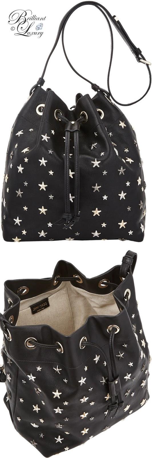 optimized pins Brilliant Luxury ♦ Jimmy Choo Juno Black and Metallic Leather Drawstring Bag with Multimetal Star Detailing #brilliantluxury