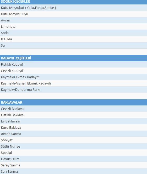 rumeli tulumbacısı menü listesi