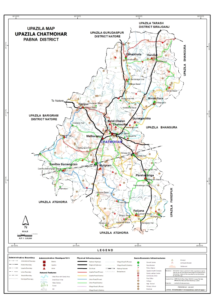 Chatmohar Upazila Map Pabna  District Bangladesh